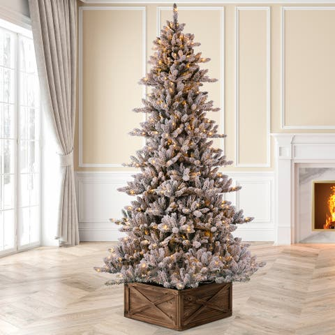 Glitzhome Pre-Lit Snow Flocked Fir Christmas Tree with Warm White Lights