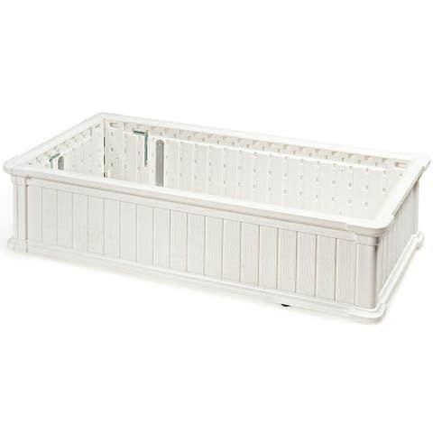 "48"" x 24"" Raised Garden Bed Rectangle Plant Box-White - White"