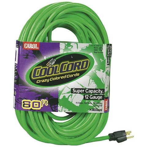 Coleman 4309 Coolcord Fluorescent Extension Cord, Green, 80'
