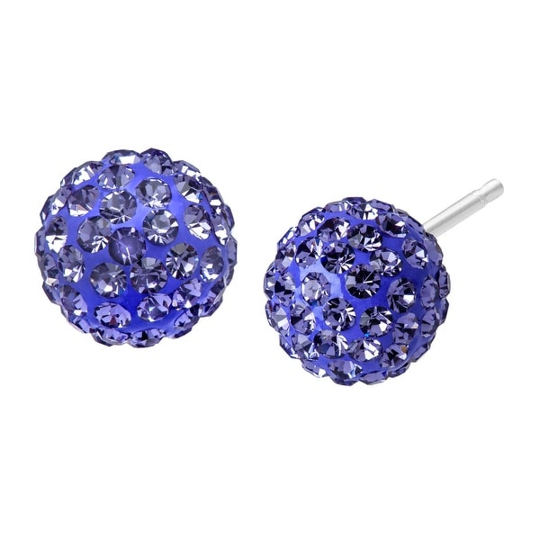 Glitter Ball Earrings with Lavender Swarovski elements Crystal in Sterling Silver