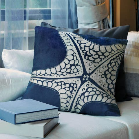 Wavely Coastal Indigo Accent Pillows (Set of 2) by FOA