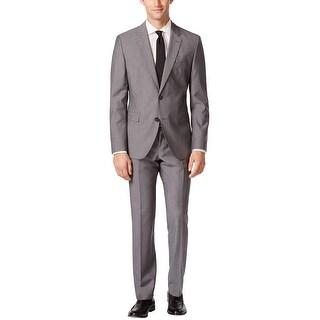 Hugo Boss Jeffrey Simmons Slim Grey Grid 2pc Suit 48 Regular 48R Pants 42 Waist