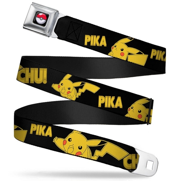 Pok Ball Full Color Black Pikachu Attack Poses Pika Chu! Black Yellow Seatbelt Belt