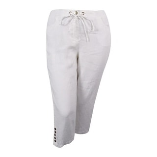 JM Collection Women's Embellished Capri Pants (Bright White,12) - 12