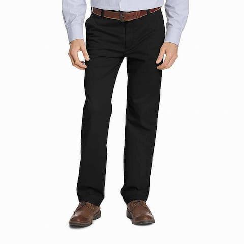 IZOD Mens Pants Solid Black Size 46x32 Big & Tall Classic Fit Stretch
