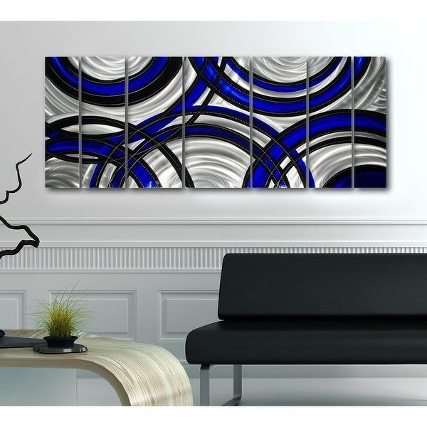 Statements2000 Blue Silver Black Abstract Modern Metal Wall Art Panels by Jon Allen - Crossroads Blue