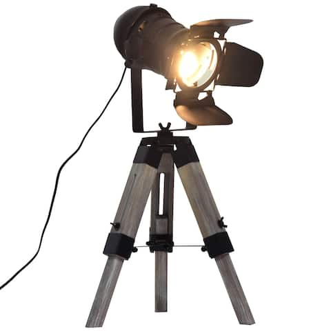 HOMCOM Retro Adjustable Table Lamp Portable Tripod Spotlight, Decorative Lighting, Black