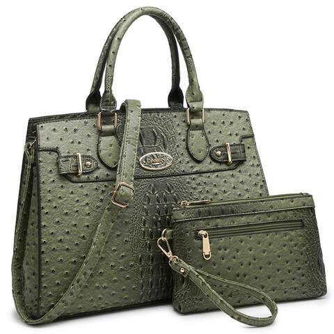 Dasein Women Handbags and Satchel Bag with Matching Clutch
