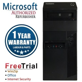 Refurbished Lenovo ThinkCentre M91P Tower Intel Core I7 2600 3.4G 4G DDR3 250G DVD Win 10 Pro 1 Year Warranty - Black