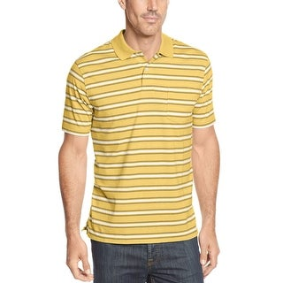 John Ashford Essentials Polo Shirt Sunwash Yellow Striped Short Sleeves