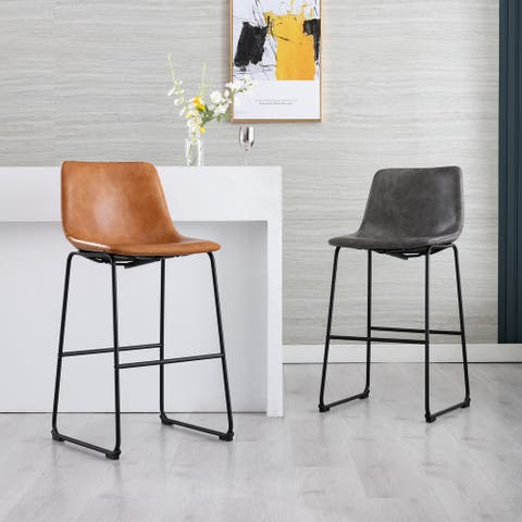 Corvus Thurso Faux Leather 24-inch Steel Counter Stool (Set of 2)
