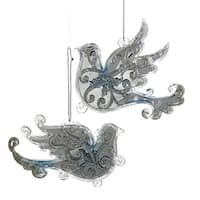 """Club Pack of 24 Clear and Blue Dove Swirl Pattern Christmas Ornaments 6"""""""