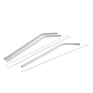3 Sets Household Metal Reusable Drinking Straw Mane Brush Cleaner Tool