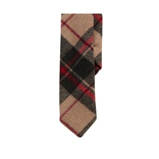 PENGUIN Mens Wool Blend Flannel Plaid Skinny Neck Tie Tan and Red $55