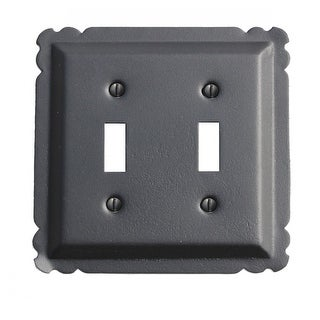 Switchplate Black Steel Double Toggle