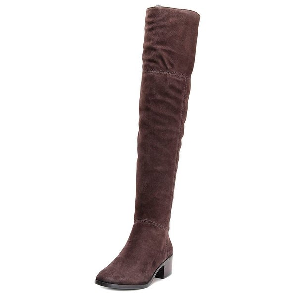 Coach Lucia Women Round Toe Suede Tan Over the Knee Boot