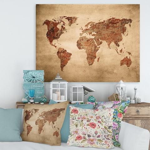 Designart 'Ancient Map of The World VII' Vintage Canvas Wall Art Print