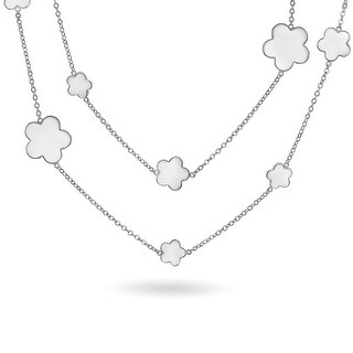 Bling Jewelry Rhodium Plated White Enamel Five Leaf Clover Flower Necklace 42 Inches