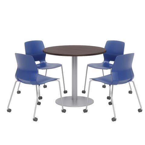 Olio Designs Round Dining Table Set, Lola Caster Chairs, Espresso