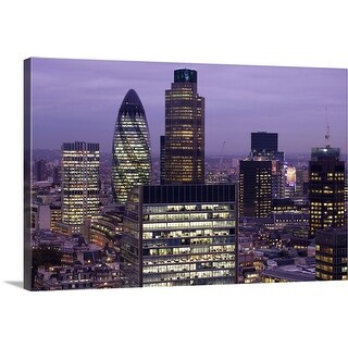 """City of London at Dusk with  Bishopsgate, England"" Canvas Wall Art"