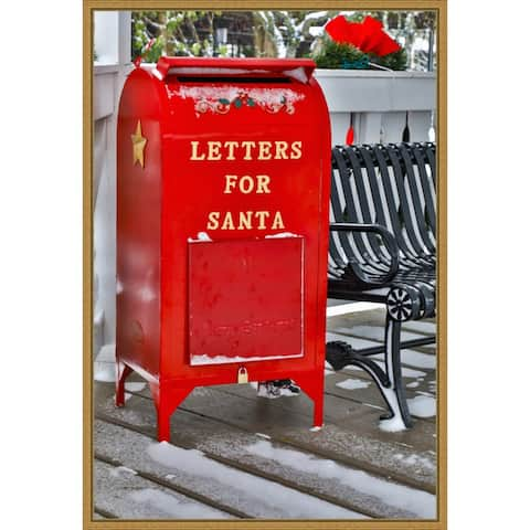 Letters for Santa Red Mailbox with Snow, Darrell Gulin Framed Canvas