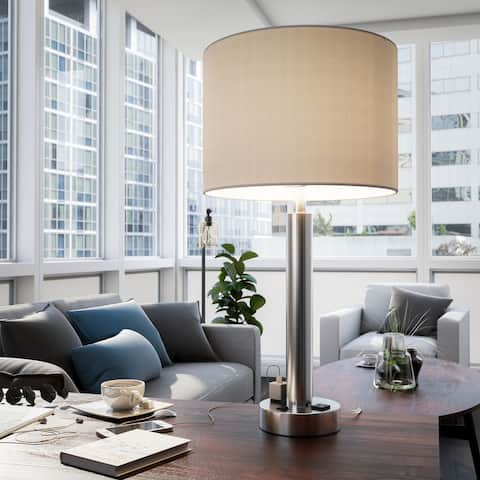 Nora 27-inch Brushed Steel Table Lamp w/ 2 Outlets