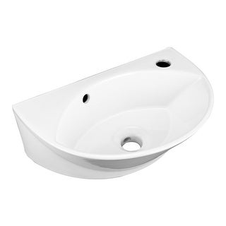 Small Wall Mount Bathroom Sink White with Single Faucet Hole