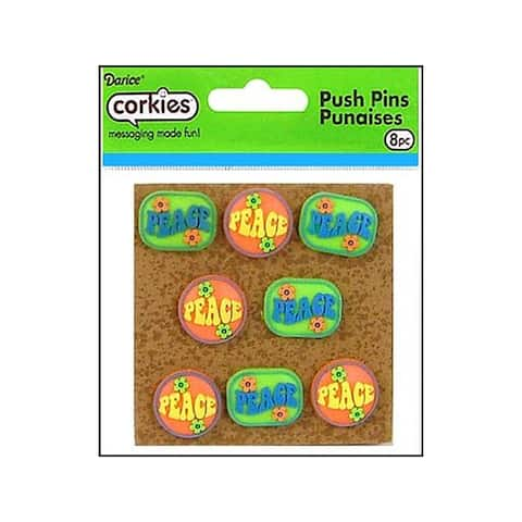 Crkp0002 darice corkies push pin peace 8pc