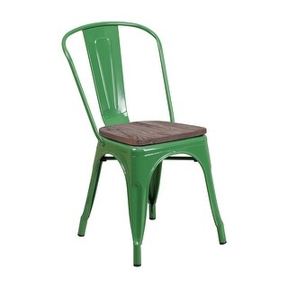 Offex Modern Rustic Metal Bistro Stackable Chair with Wood Seat - Green - N/A