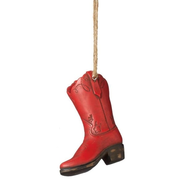 "3.5"" Wild West Red and Black Decorative Cowboy Boot Christmas Ornament"