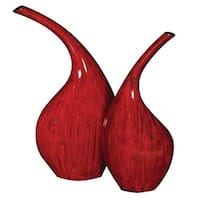 Howard Elliott Scarlet Red Ceramic Vases (Set of 2) Set of 2 Ceramic Vases