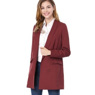 Allegra K Women Shawl Collar Double Breasted Flap Pockets Blazer