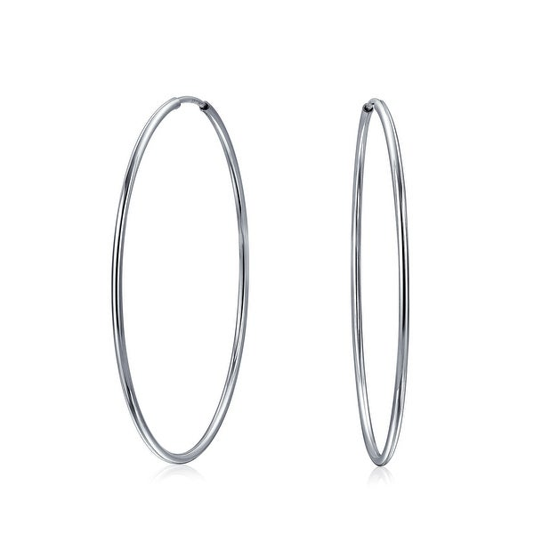 30f705003 Shop Minimalist Round Shaped Endless Continuous Thin Tube Hoop Earrings For  Women Shinny 925 Sterling Silver 1.75 inch Dia - On Sale - Free Shipping On  ...