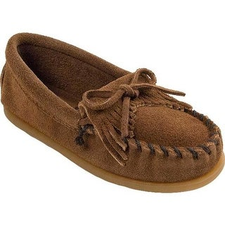 Minnetonka Children's Kilty Suede Moc Dusty Brown Suede