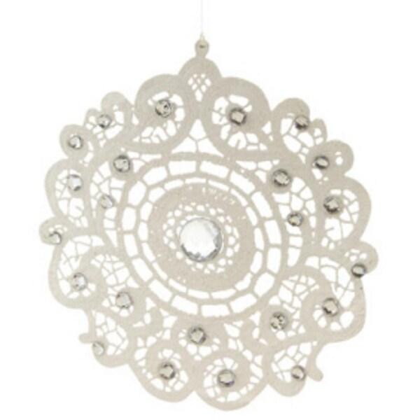 "8"" Elegant Jeweled White Lace Round Doily Style Christmas Ornament"