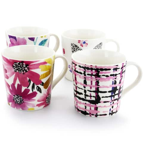 Gibson Home Sweet & Bold 4 Piece 17 Ounce Stoneware Mugs Set