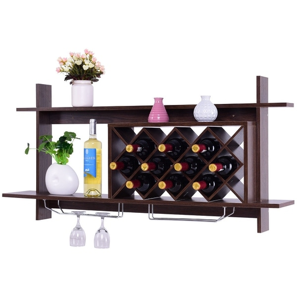 Shop Gymax Wall Mount Wine Rack Organizer With Glass Holder