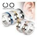 Half Color IP Pair of 316L Surgical Stainless Steel Non-Piercing Clip On Round Earrings - Thumbnail 0
