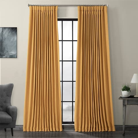 Porch & Den Milazzo Faux Linen Extra Wide Blackout Curtain