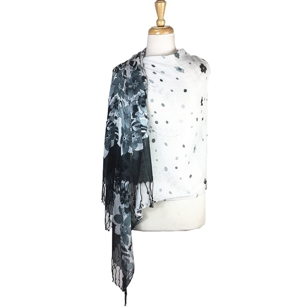 77c75b990 Shop Women's Fashion Floral Soft Wraps Scarves - F9 Black/White - Large -  Free Shipping On Orders Over $45 - Overstock.com - 14335385