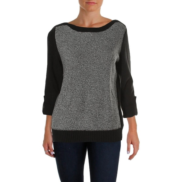 Karen Scott Womens Pullover Sweater Colorblock Marled