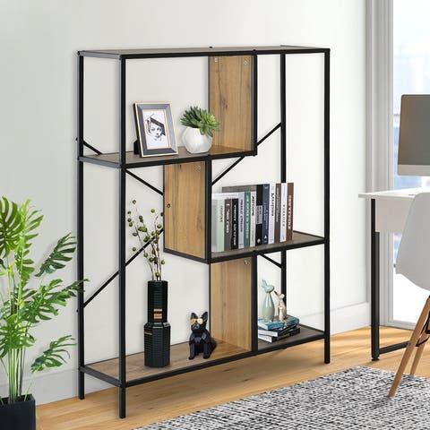 Moda 4-Tier Rustic Industrial Bookshelf Display Decor