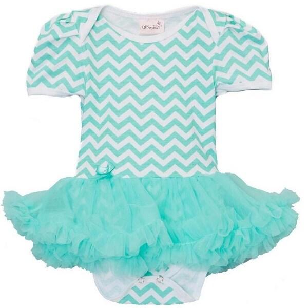 Wenchoice Baby Girls Green Chevron Tutu Short Sleeve Bodysuit