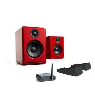 Audioengine A2+ Premium Desktop Speakers (Red) w/ B1 BT Music Receiver & Stands
