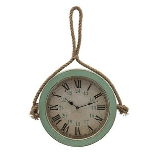 """25.25"""" Coastal Distressed Ocean Blue Wall Clock with Knotted Rope Hanger"""