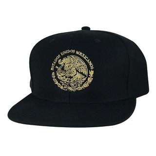 Mexico Seal Flag Flat Bill Snapback Hat Cap by Caprobot- Black Beige