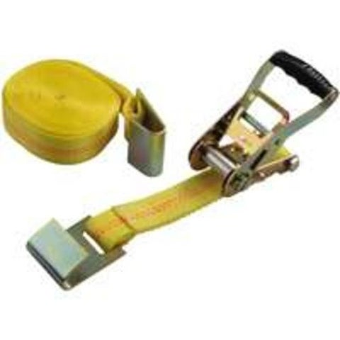 """Mintcraft FH64065 Ratchet Tie Down With Flat Hook 2""""x27', Yellow"""