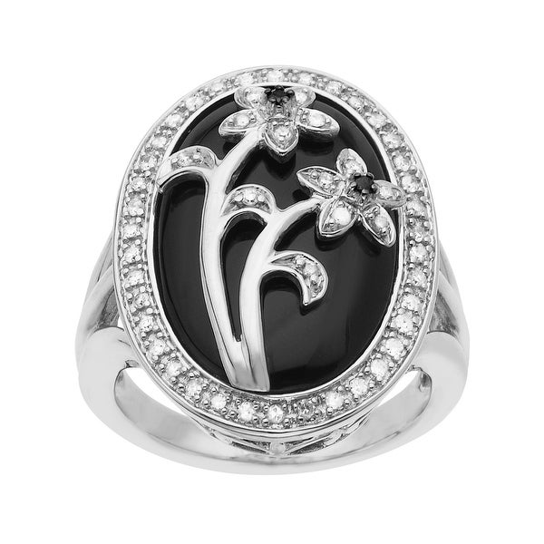 1/5 ct Diamond and Onyx Flower Ring in Sterling Silver