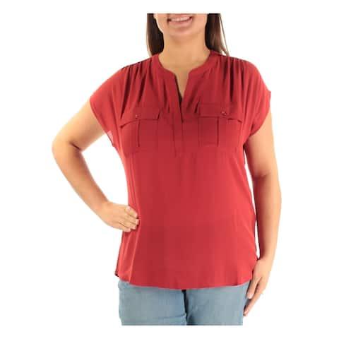 INC Womens Orange Pocketed Sleeveless V Neck T-Shirt Top Size XL