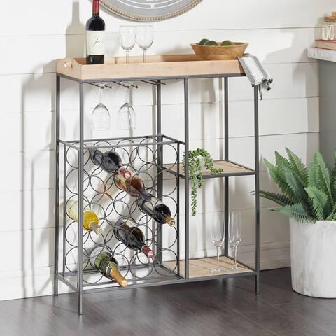 Brown Metal Farmhouse Standing Wine Rack 37 x 30 x 12 - 30 x 12 x 37